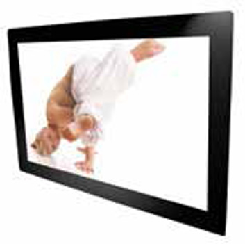 Front bezel is an accessory for the open frame chassis. A monitor with front bezel requires a wall mount. A combination of front bezel and touch or safety glass is possible.