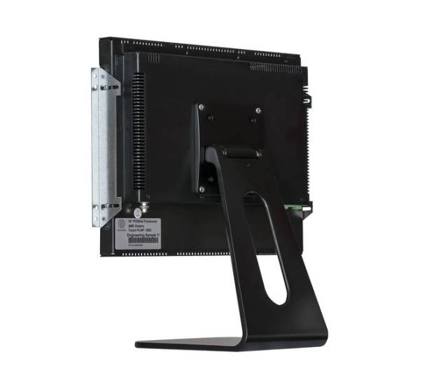 Rear view of our POS-Line monitor with optional VESA desk stand - also displays are the in-wall mounts