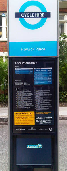 "The bottom of this Cycle Hire totem features a high bright 12.1"" Innolux TFT display"