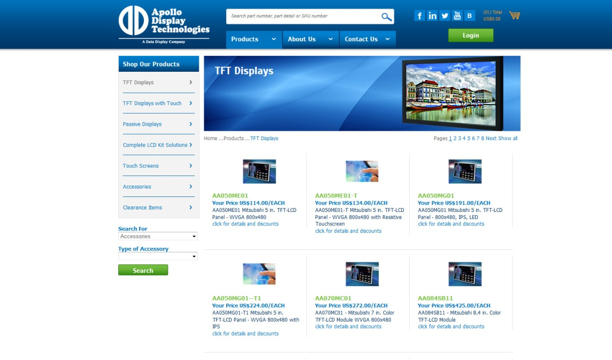 TFT Displays category page from Apollo's new webstore